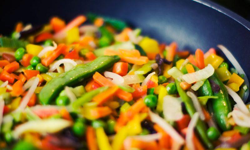 vegetables frying pan greens